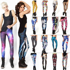 3D Graphic Print Pants Womens Stretch Leggings Skull Galaxy Punk Skinny Trousers