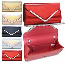 WOMENS NEW PATENT LEATHER SNAKESKIN EFFECT EVENING CLUTCH BAG SHOULDER STRAP