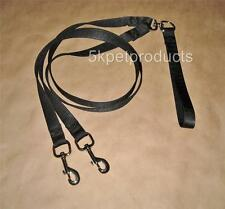 Two Dog Leash - Walk 2 Dogs -  Double Dog Coupler Leash Heavy Weight Nylon Black