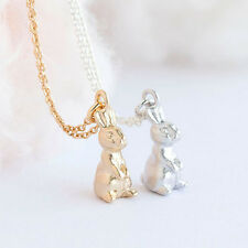 Silver Gold Plated Rabbit Bunny Easter Necklace Animal Pendant in Gift Bag/Box