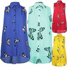 New Ladies Collared Sleeveless Uneven Dip Hem Chiffon Button Vest Top Dress14-28