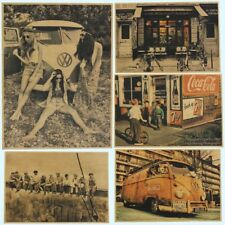 Retro Kraft Poster Coffee Beer Wine Collection Bars Kitchen Drawings Posters Ado