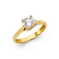 14K Yellow Gold 1.5 Ct Round Cut Diamond Solitaire Engagement Ring 2.9 grams
