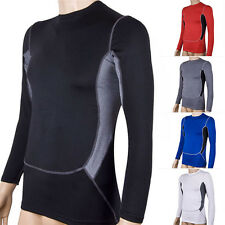 Mens Athletic Compression Under Base Layer Top Tight Long Sleeve Jersey T-Shirts