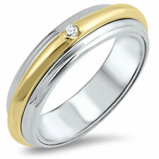 Men 6MM 925 Sterling Silver Gold Plated Spinner Ring Band Round CZ Accent Domed
