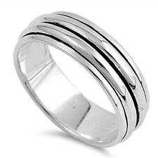 Men Women 8MM 925 Sterling Silver Plain Two Row Spinner Ring Band Free Gift Box