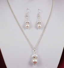 Bridal Pearl & Crystal Earrings & Necklace  Using Swarovski Elements