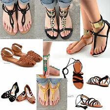 NEW Women's Summer Casual Flat Thong Strappy Gladiator Sandals Shoes Size