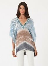 Hale Bob Beaded Blue Tunic Top Tie Dye Printed Silk Knit XS NWT $118 5TSN2657