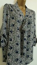 NEW Ex DP 8-20 Pussybow Bird Print Chiffon Navy Crepe Chiffon Top Blouse Shirt