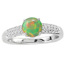 925 Sterling Silver Ring 6mm Natural Ethiopian Opal Multi Color Gemstone Ring