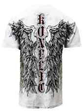 WINGED CROSS T SHIRT FALLEN ANGEL MEN'S DESIGNER MMA TATTOO TUFF WEAR ALL SIZES
