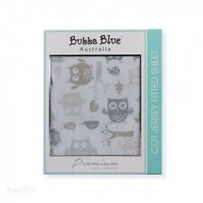 Bubba Blue Jersey Cot Fitted Sheet (Mod The Owl)
