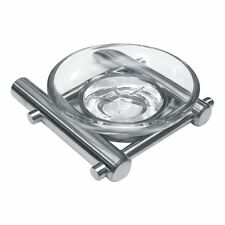 Soap Dish - Stainless Steel with Clear Glass Dish - (Available in 2 finishes )