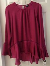 NWT Mossimo Crepe Peplum Blouse Ladder Lace Trim Burgundy Purple or Black