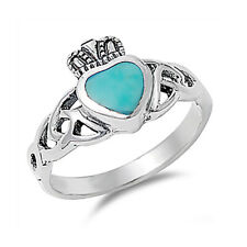 Women 11mm 925 Silver Simulated Turquoise Celtic Knot Heart Claddagh Ring Band