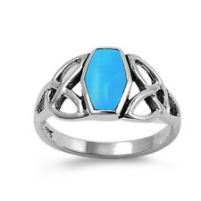 Men Women 11mm 925 Sterling Silver Simulated Turquoise Celtic Knot Ring Band