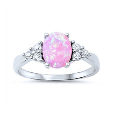 Women 8mm 925 Sterling Silver Oval Simulated Pink Opal Engagement Ring Band