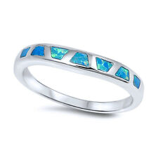 3mm Sterling Silver Simulated Blue Opal Band Ladies Ring