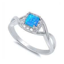 Women 8mm 925 Sterling Silver Square Simulated Blue Opal & CZ Ladies Ring Band