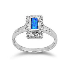 Women 12mm 925 Sterling Silver Square Simulated Blue Opal Ladies Ring Band