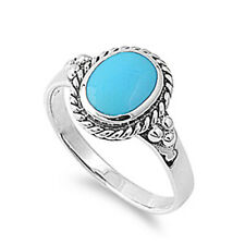 Women 13mm 925 Sterling Silver Oval Shape Simulated Turquoise Ladies Ring Band