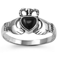 Women 10mm 925 Sterling Silver Simulated Black Onyx Heart Claddagh Ring Band