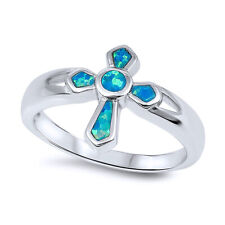 Women 14mm 925 Sterling Silver Simulated Blue Opal Cross Ladies Ring Band