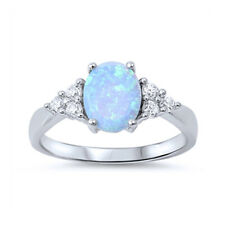 Women 8mm 925 Sterling Silver Oval Simulated Light Blue Opal Ladies Ring Band