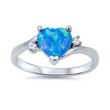 Women 9mm 925 Sterling Silver Simulated Blue Opal with CZ Heart Ladies Ring Band