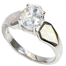 Women 9mm 925 Silver Simulated White Opal Oval CZ Solitaire Ladies Ring Band