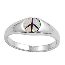 Men Women 7mm 925 Sterling Silver Simulated Pink Opal Peace Sign Ring Band