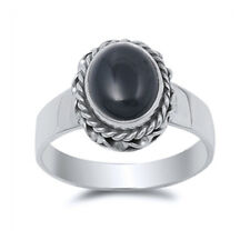 Women 14mm 925 Sterling Silver Oval Simulated Black Onyx Cocktail Ring Band