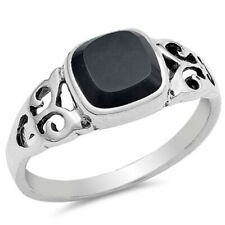 Women 8mm 925 Sterling Silver Simulated Black Onyx Filigree Ladies Ring Band
