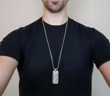 Mens Pendant Necklace Silver Dog Tag Chain Men Fashion Jewelry Stainless Steel
