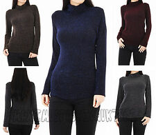 Plain Ribbed Cotton Polo Turtle Ladies Roll Neck Tunic Top Jumper Full Sleeve