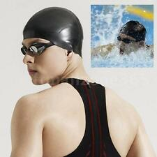 Black Durable Stylish Sporty Latex Swimming Cap Hat Lightweight K3X4