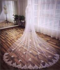 2 Tiers Bride Cathedral veil Lace Decal edge White/ivory Wedding dress veil+comb