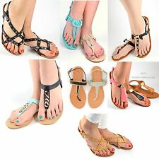 Women's Sandals Flat Gladiator T Strap Thong Summer Casual Sandal Shoes Size