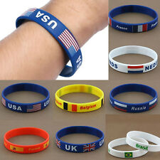 Unisex Cheer Up Country Flag Rubber Soft Silicone Bracelet Sport Wristband Cuff