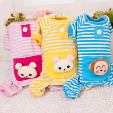 Winter Warm Stripes pajamas Coat Clothes Clothing For Small Pet Puppy Dog Cat