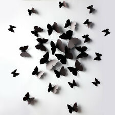 12PCS Cool Black/White DIY 3D Butterfly Wall Sticker Home Decor Room Decoration