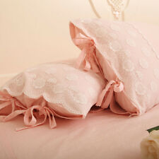 Shabby Chic Lace Floral Embroidery Cotton Pillowcase Bed Cover Sham Pink Slips