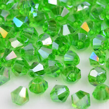 100/300/600Pcs Crystal charm Bicone loose spacer 4mm glass Clear bead,Green AB