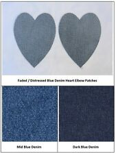 Denim Heart Elbow/Knee Patches Iron On  & Sew, 3 Shades. Repair, Customise