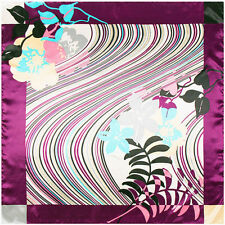 "New Arrival Women's Fashion Purple Printed Silk-Satin Square Scarf Shawl35""x35"""