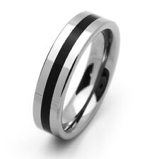 Men 6MM Comfort Fit Tungsten Carbide Wedding Band Rubber Inlaid Flat Ring