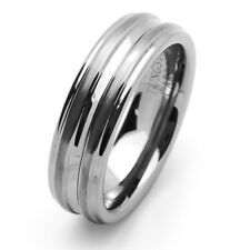 Men 7MM Comfort Fit Tungsten Carbide Wedding Band Brushed Center & Groove Ring