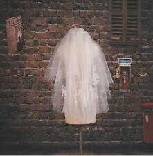 NEW 2 Tiers Elbow lace applique veil Ivory or white Wedding Bridal veil+Comb