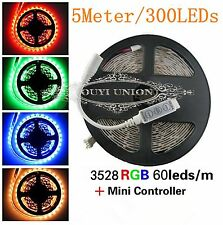 5Meter 300LEDs Flexible SMD 3528 RGB LED Light Strip+3Key RGB Remote Controller